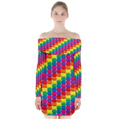 Rainbow 3d Cubes Red Orange Long Sleeve Off Shoulder Dress