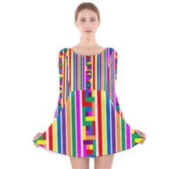 Rainbow Geometric Design Spectrum Long Sleeve Velvet Skater Dress
