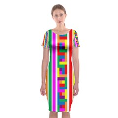 Rainbow Geometric Design Spectrum Classic Short Sleeve Midi Dress