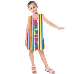 Rainbow Geometric Design Spectrum Kids  Sleeveless Dress