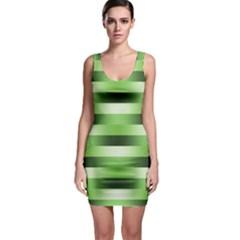 Pinstripes Green Shapes Shades Sleeveless Bodycon Dress