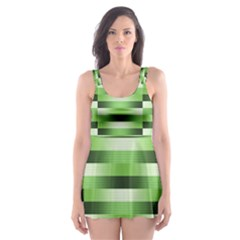 Pinstripes Green Shapes Shades Skater Dress Swimsuit