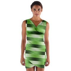 Pinstripes Green Shapes Shades Wrap Front Bodycon Dress