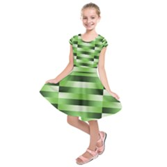 Pinstripes Green Shapes Shades Kids  Short Sleeve Dress