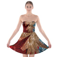 Poinsettia Red Blue White Strapless Bra Top Dress