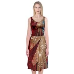 Poinsettia Red Blue White Midi Sleeveless Dress