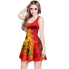 Red Silhouette Christmas Star Reversible Sleeveless Dress