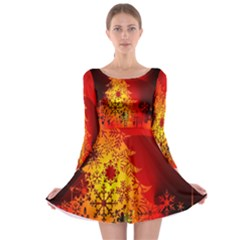 Red Silhouette Christmas Star Long Sleeve Skater Dress