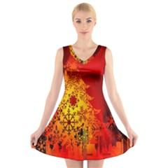 Red Silhouette Christmas Star V-Neck Sleeveless Skater Dress