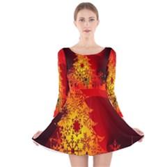 Red Silhouette Christmas Star Long Sleeve Velvet Skater Dress