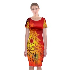 Red Silhouette Christmas Star Classic Short Sleeve Midi Dress