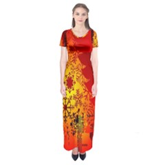 Red Silhouette Christmas Star Short Sleeve Maxi Dress