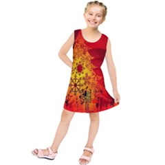 Red Silhouette Christmas Star Kids  Tunic Dress