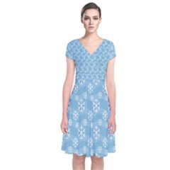 Snowflakes Winter Christmas Short Sleeve Front Wrap Dress