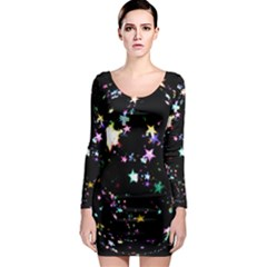 Star Ball About Pile Christmas Long Sleeve Bodycon Dress
