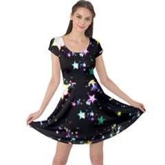 Star Ball About Pile Christmas Cap Sleeve Dresses