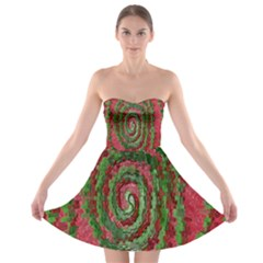 Red Green Swirl Twirl Colorful Strapless Bra Top Dress