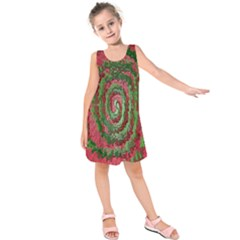 Red Green Swirl Twirl Colorful Kids  Sleeveless Dress