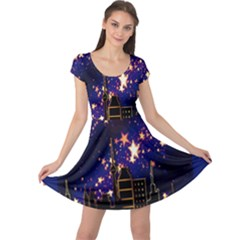 Star Advent Christmas Eve Christmas Cap Sleeve Dresses