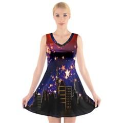 Star Advent Christmas Eve Christmas V-Neck Sleeveless Skater Dress
