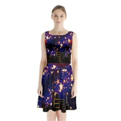 Star Advent Christmas Eve Christmas Sleeveless Chiffon Waist Tie Dress