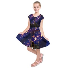 Star Advent Christmas Eve Christmas Kids  Short Sleeve Dress