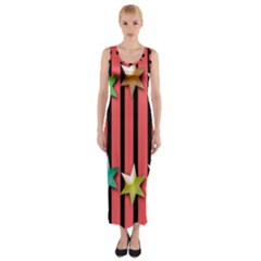 Star Christmas Greeting  Fitted Maxi Dress
