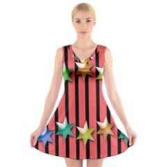 Star Christmas Greeting  V-Neck Sleeveless Skater Dress