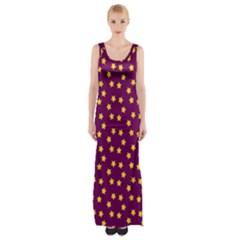 Star Christmas Red Yellow Maxi Thigh Split Dress