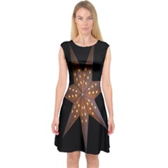 Star Light Decoration Atmosphere Capsleeve Midi Dress