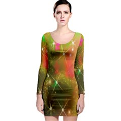 Star Christmas Background Image Red Long Sleeve Bodycon Dress