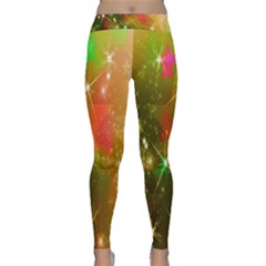 Star Christmas Background Image Red Classic Yoga Leggings