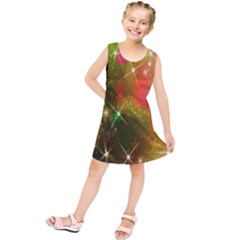 Star Christmas Background Image Red Kids  Tunic Dress