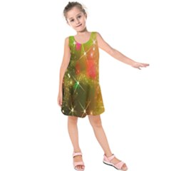 Star Christmas Background Image Red Kids  Sleeveless Dress