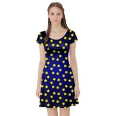 Star Christmas Yellow Short Sleeve Skater Dress