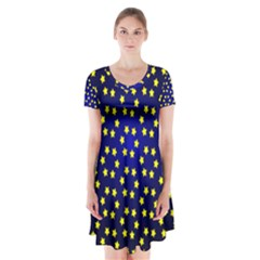 Star Christmas Yellow Short Sleeve V-neck Flare Dress