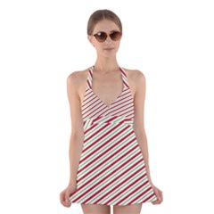 Stripes Halter Swimsuit Dress