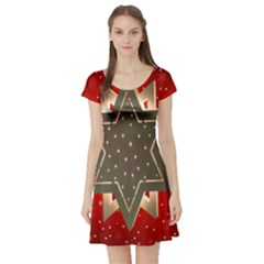 Star Wood Star Illuminated  Short Sleeve Skater Dress