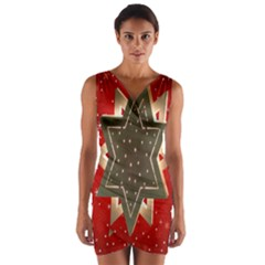 Star Wood Star Illuminated  Wrap Front Bodycon Dress