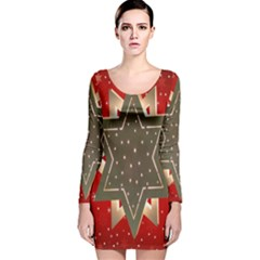 Star Wood Star Illuminated  Long Sleeve Velvet Bodycon Dress