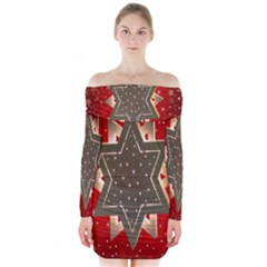 Star Wood Star Illuminated  Long Sleeve Off Shoulder Dress