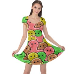 Sweet Dessert Food Gingerbread Men Cap Sleeve Dresses