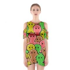 Sweet Dessert Food Gingerbread Men Cutout Shoulder Dress