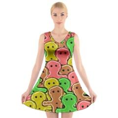 Sweet Dessert Food Gingerbread Men V-Neck Sleeveless Skater Dress