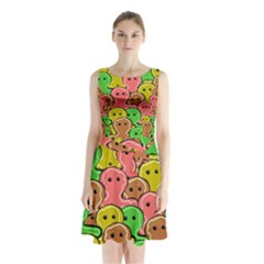 Sweet Dessert Food Gingerbread Men Sleeveless Chiffon Waist Tie Dress