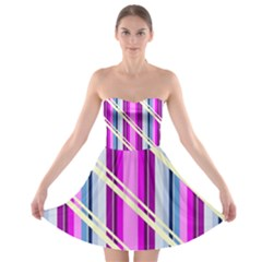 Texture Surface Stripes Lines Strapless Bra Top Dress