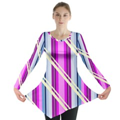 Texture Surface Stripes Lines Long Sleeve Tunic