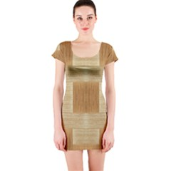 Texture Surface Beige Brown Tan Short Sleeve Bodycon Dress
