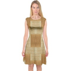Texture Surface Beige Brown Tan Capsleeve Midi Dress