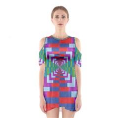 Texture Fabric Textile Jute Maze Cutout Shoulder Dress
